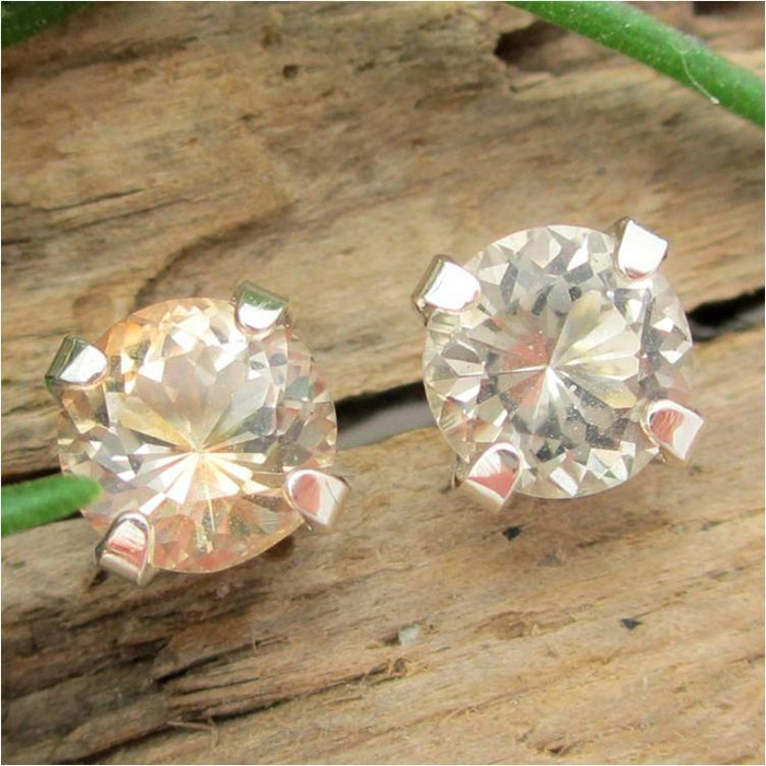 Pale Tan Topaz Stud Earrings