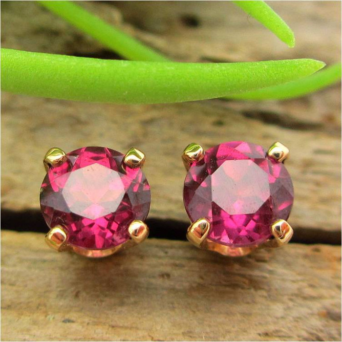 Pink Rhodolite Garnet Stud Earrings