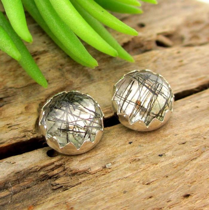 Tourmalinated Quartz Cabochon Stud Earrings