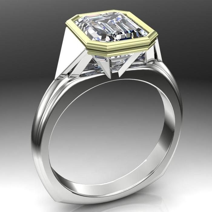 Egyptian Deco Engagement Ring | Emerald Cut 2.5ct Diamond