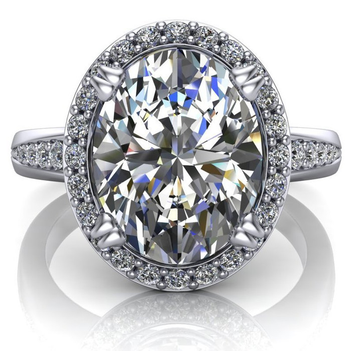 Halo Tapered Engagement Ring   Oval 3 Carat Diamond