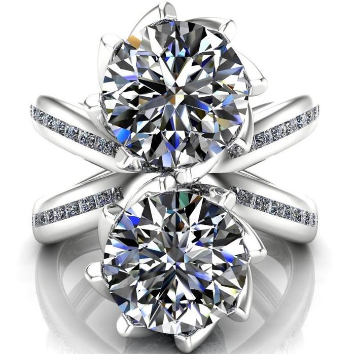 X Band Two Stone Engagement Ring | Round 2x 2ct Diamonds