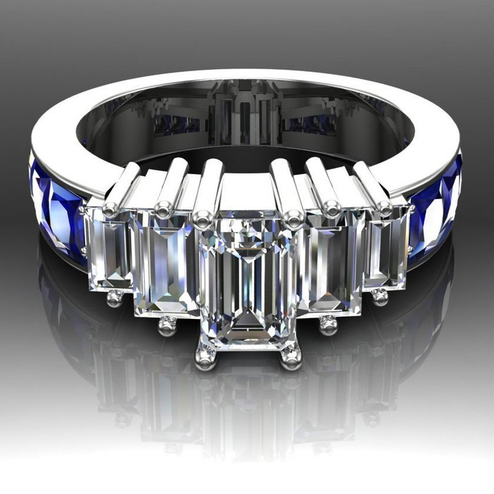 Sapphire City Engagement Ring | Emerald Cut .75ct Diamond