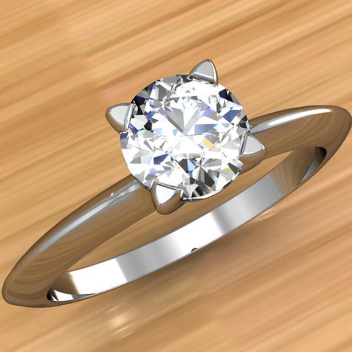 Solitaire Edge Engagement Ring   Round 1/2 Carat Diamond