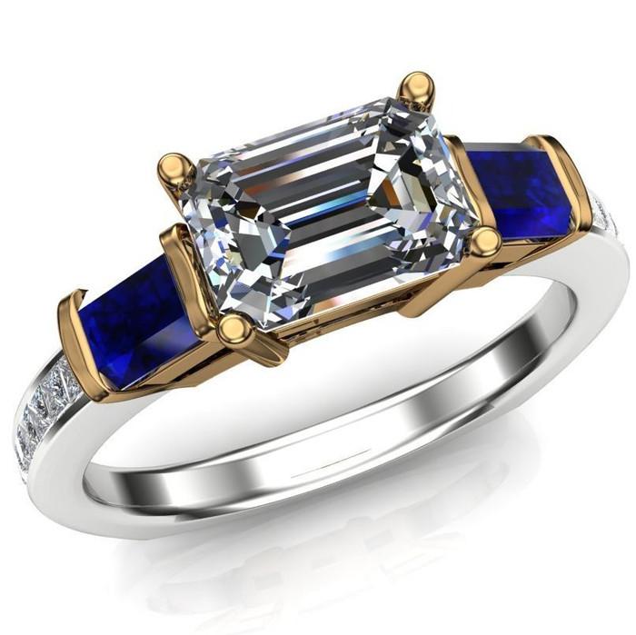 Royal Colors Engagement Ring | 1ct Diamond & Blue Sapphires