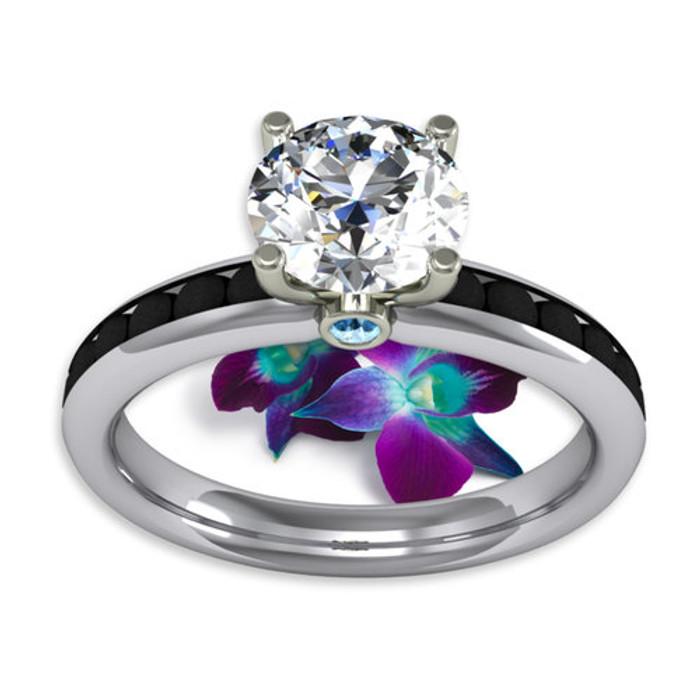 Black Channels Engagement Ring | Round 1.2ct Diamond