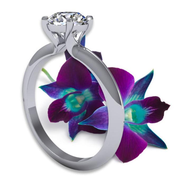 Solitaire Edge Engagement Ring   Round 1 Carat Diamond