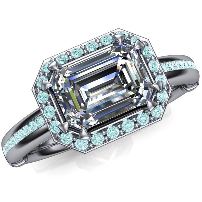 Blue Halo Engagement Ring | Emerald Cut 1ct Diamond