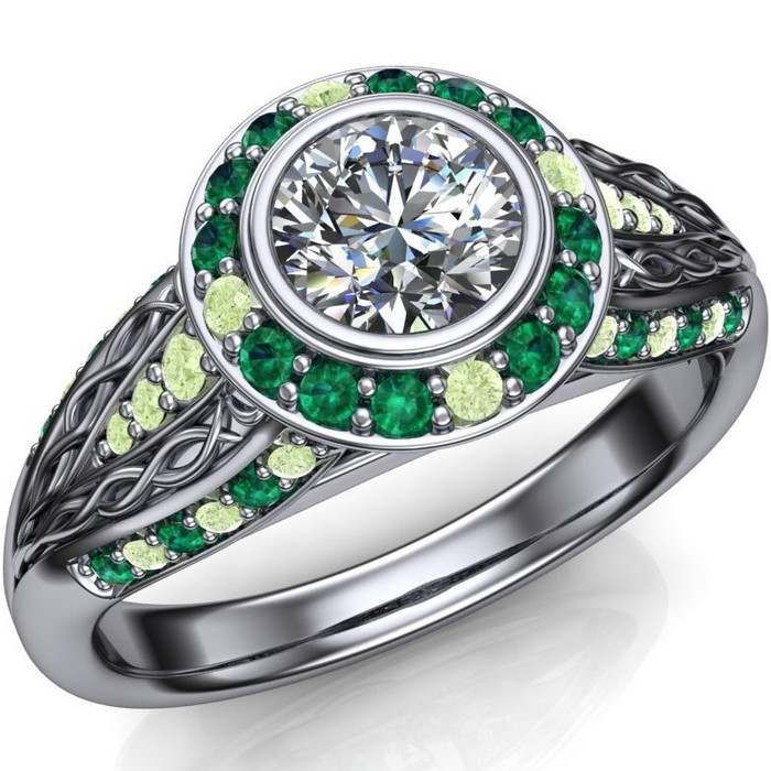 Emerald Garden Engagement Ring | Round Half Carat Diamond