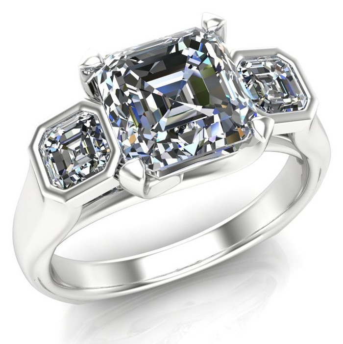Power of Three Engagement Ring | Asscher 2ct Diamond