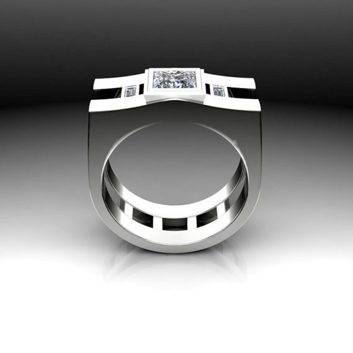 Shield Men's Engagement Ring | Square 1 Carat Diamond
