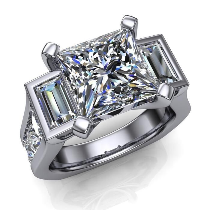 Power of Three Men's Engagement Ring | Square 3ct Diamond