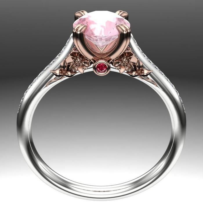 Hibiscus Garden Gemstone Ring | Round 1ct Morganite & Ruby