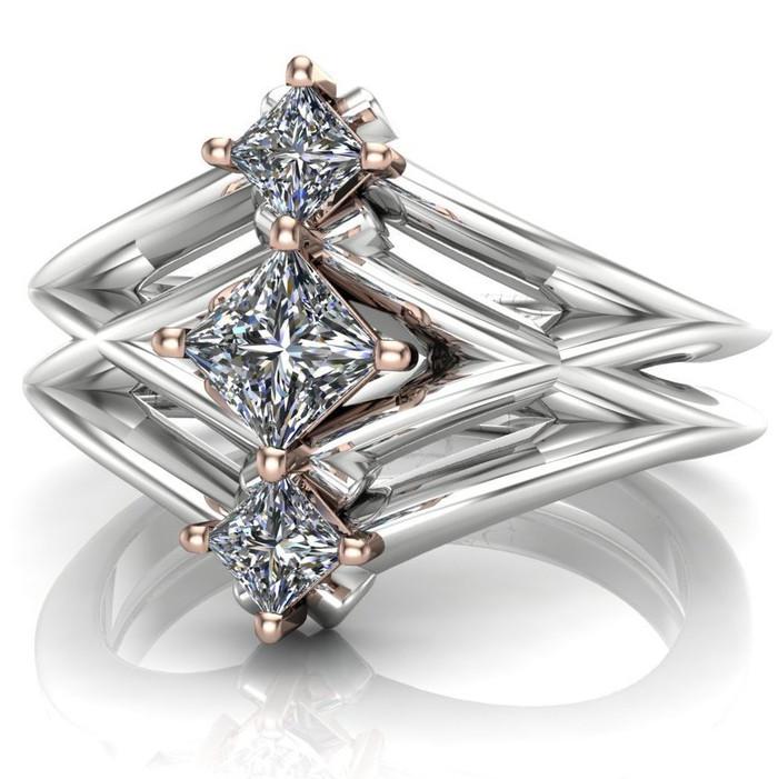 Sci-Fi Three Stone Engagement Ring   Princess Diamonds