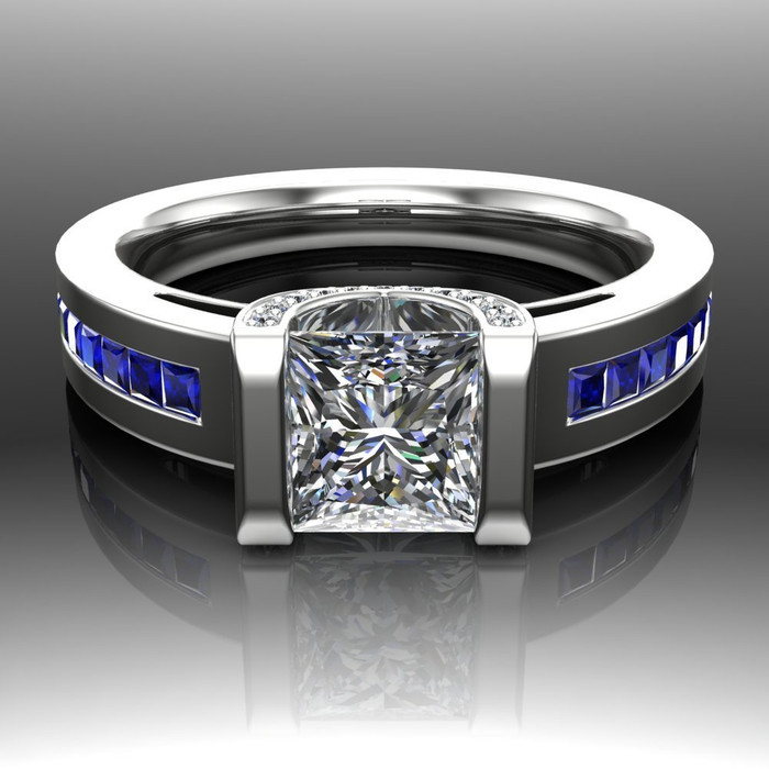 Blue Line Engagement Ring | Princess 1ct Diamond & Sapphire