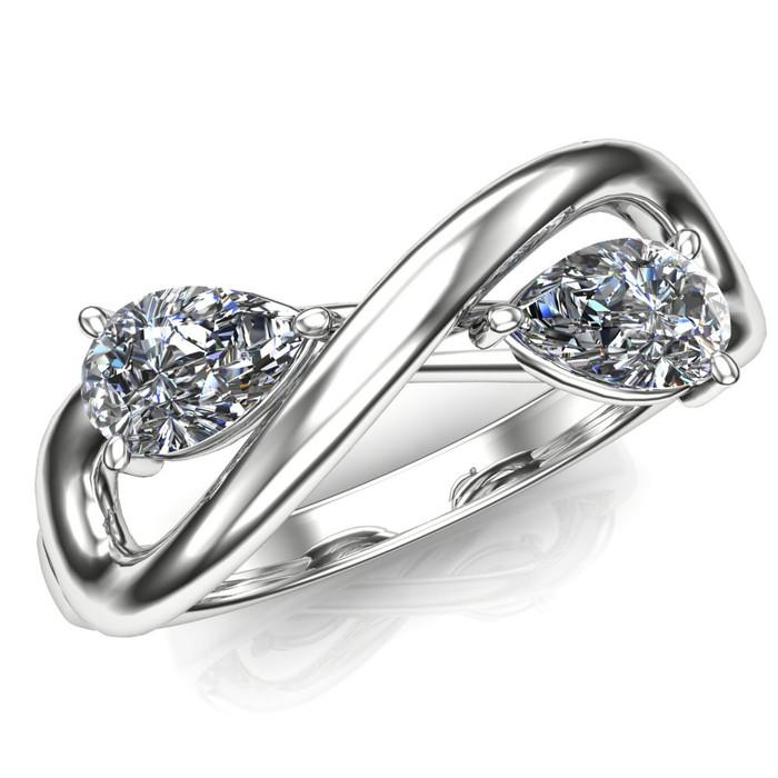 Two stone infinity diamond engagement ring
