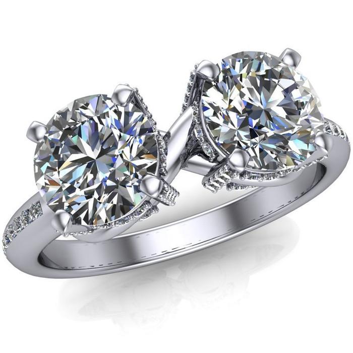Infinity 2 Stone Engagement Ring | Round 1.5+ ct Diamonds