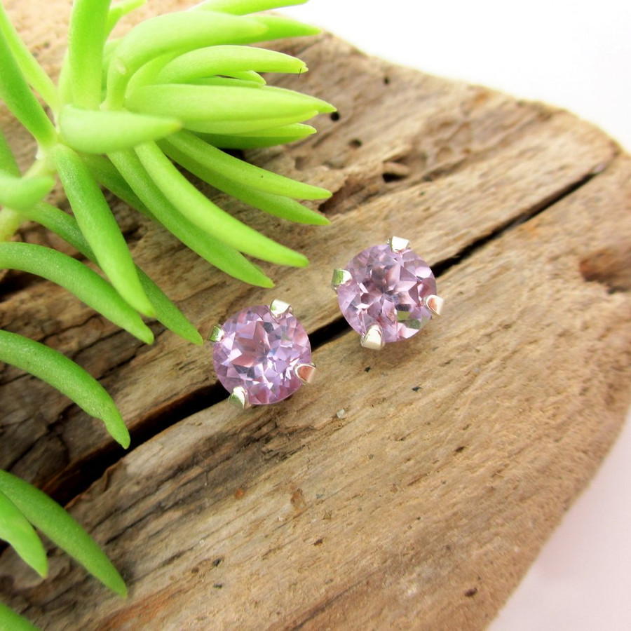 Amethyst stud earrings, lilac Brazilian