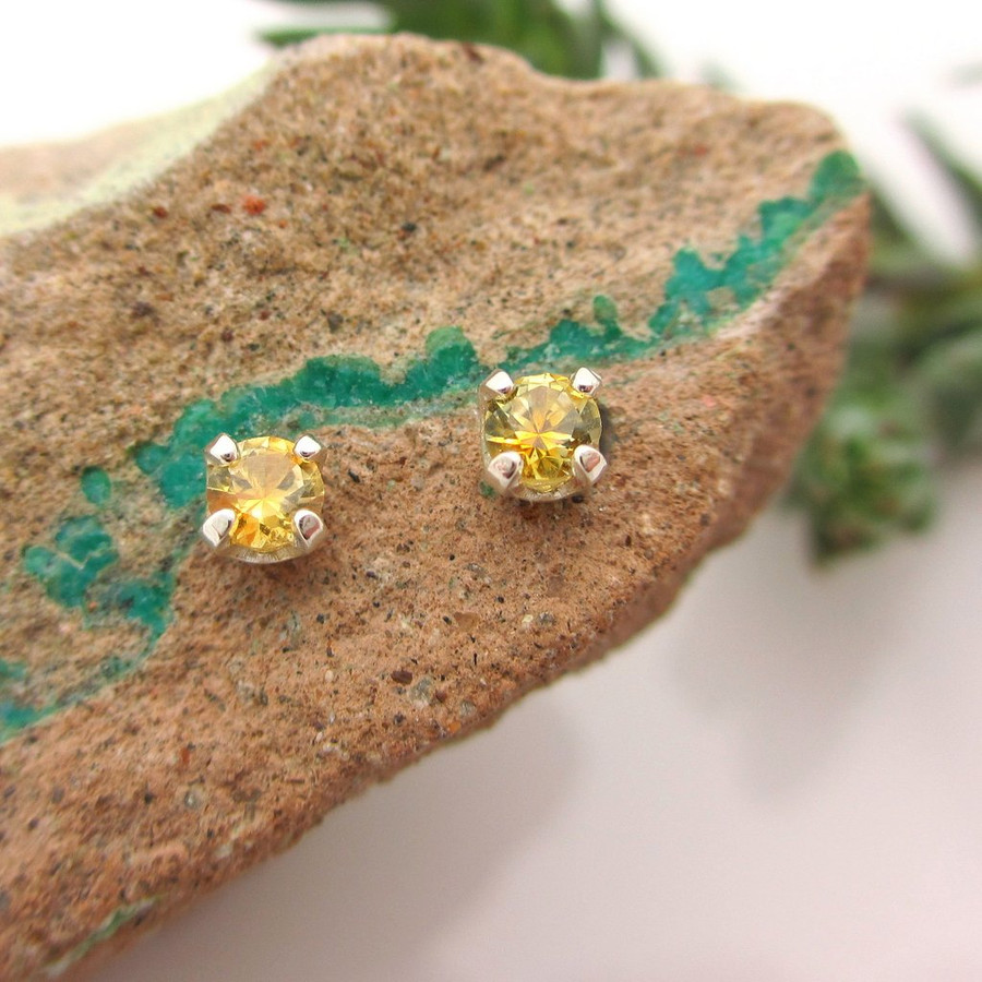 Yellow Montana Sapphire Stud Earrings