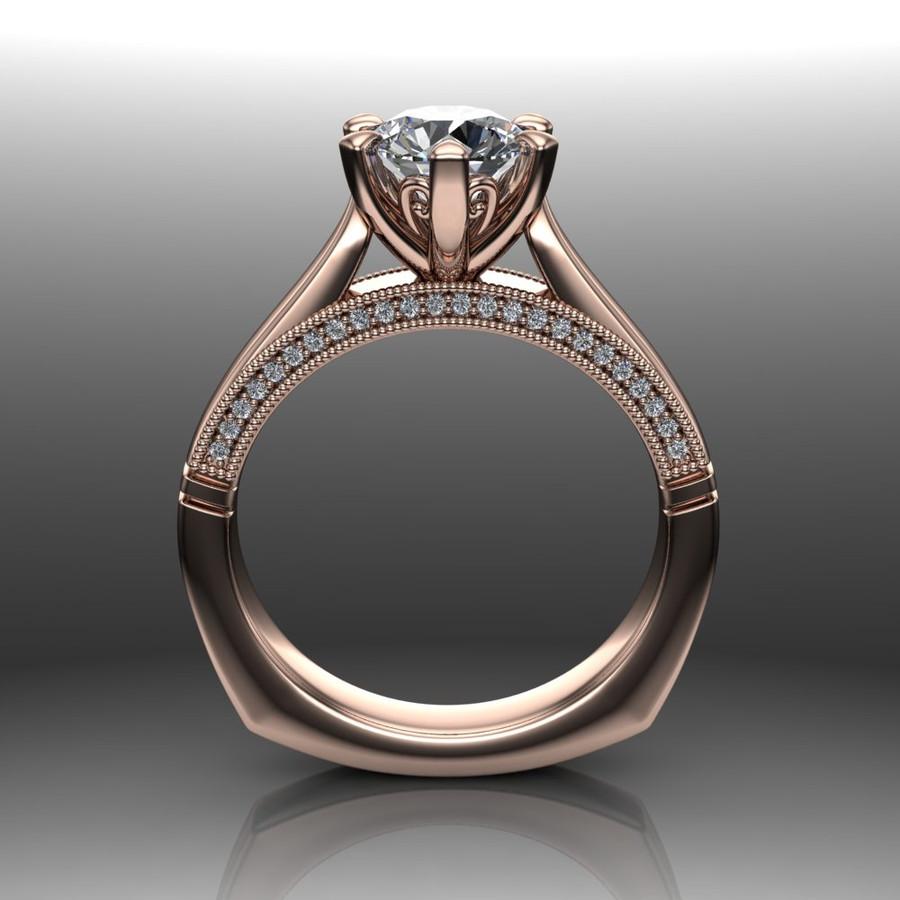 Diamond Engagement Ring   1 Carat Round   Bold, Modern front view