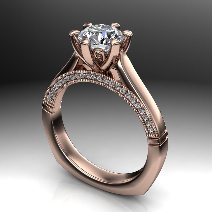 Diamond Engagement Ring   1 Carat Round   Bold, Modern angled view