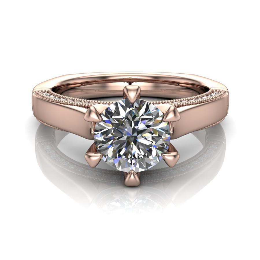 Diamond Engagement Ring   1 Carat Round   Bold, Modern center view