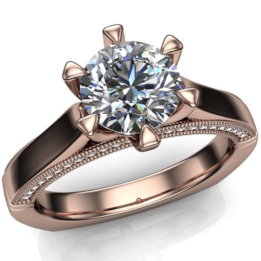 Diamond Engagement Ring   1 Carat Round   Bold, Modern overhead view