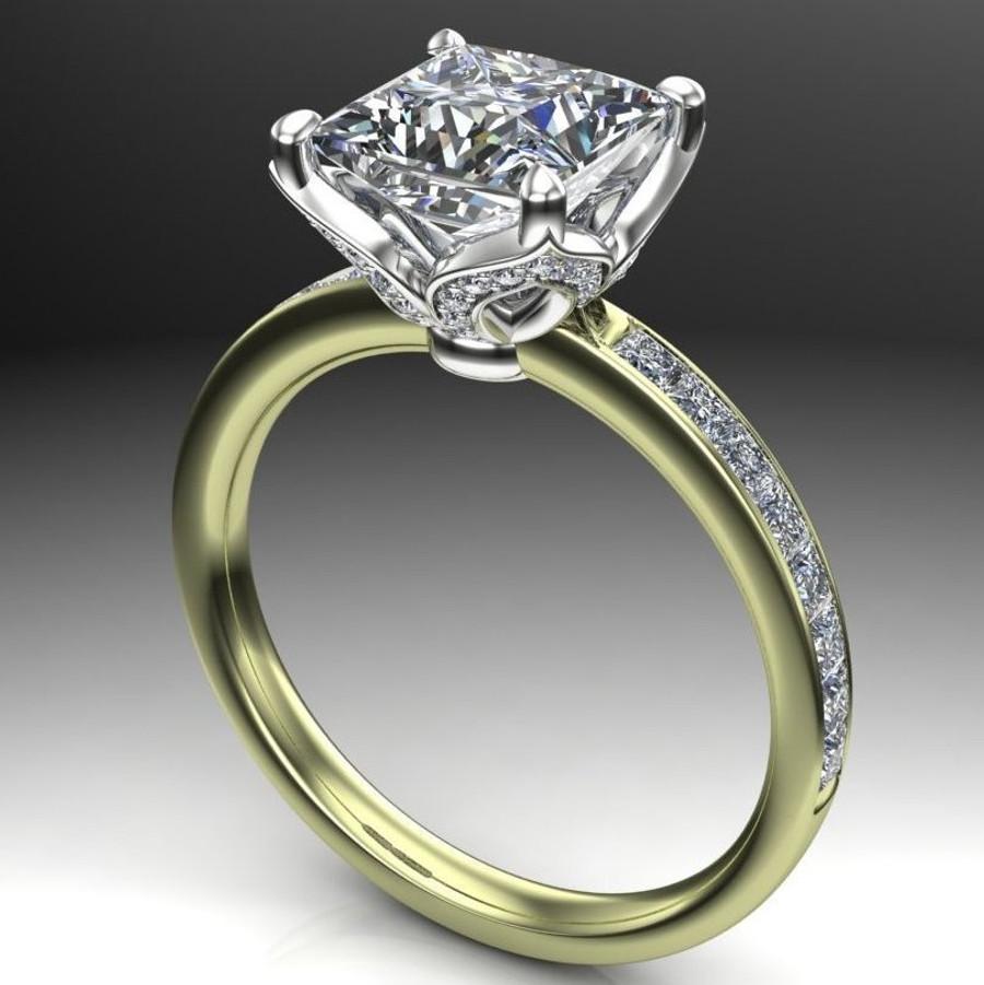 Diamond Petals Engagement Ring   Princess 2 Carat Diamond