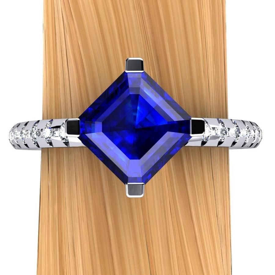 Gemstone Engagement Ring   Asscher .9 Carat Blue Sapphire