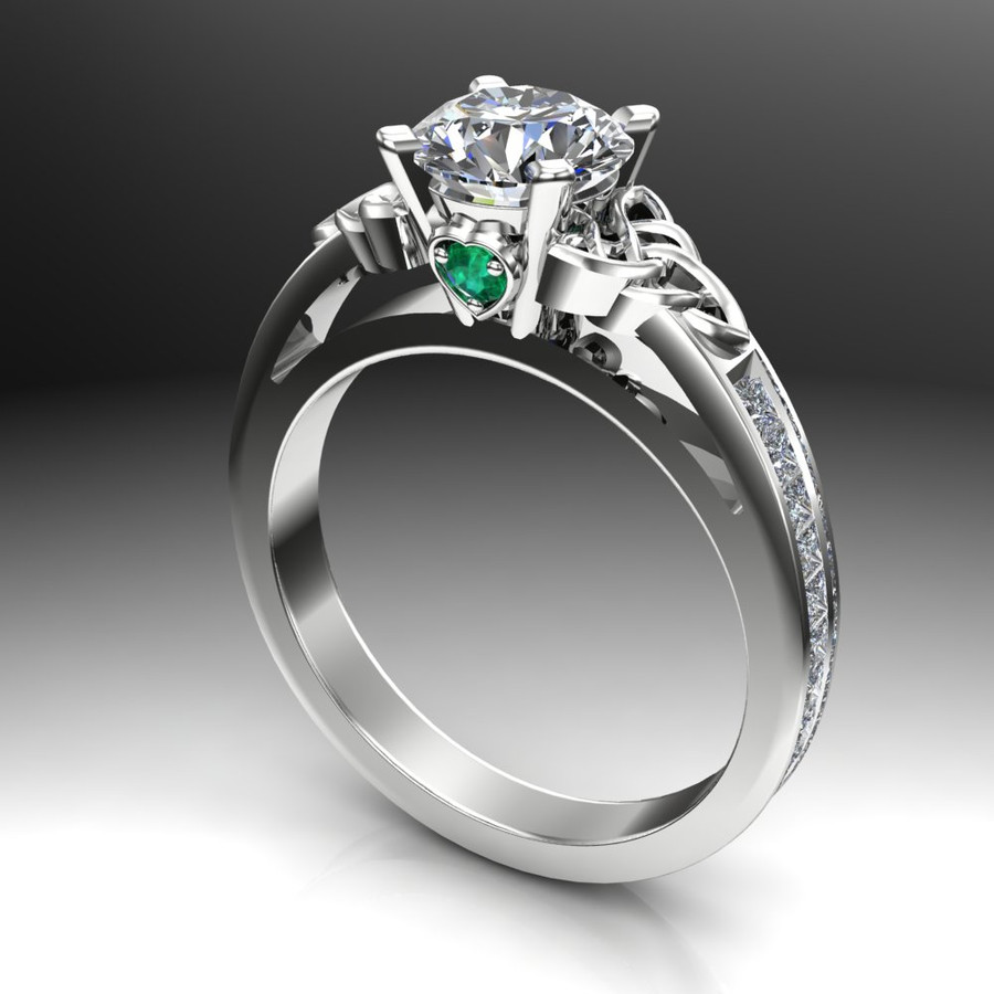 Diamond Celtic Knot Engagement Ring, 1ct with Diamond and Emerald Accents angled view