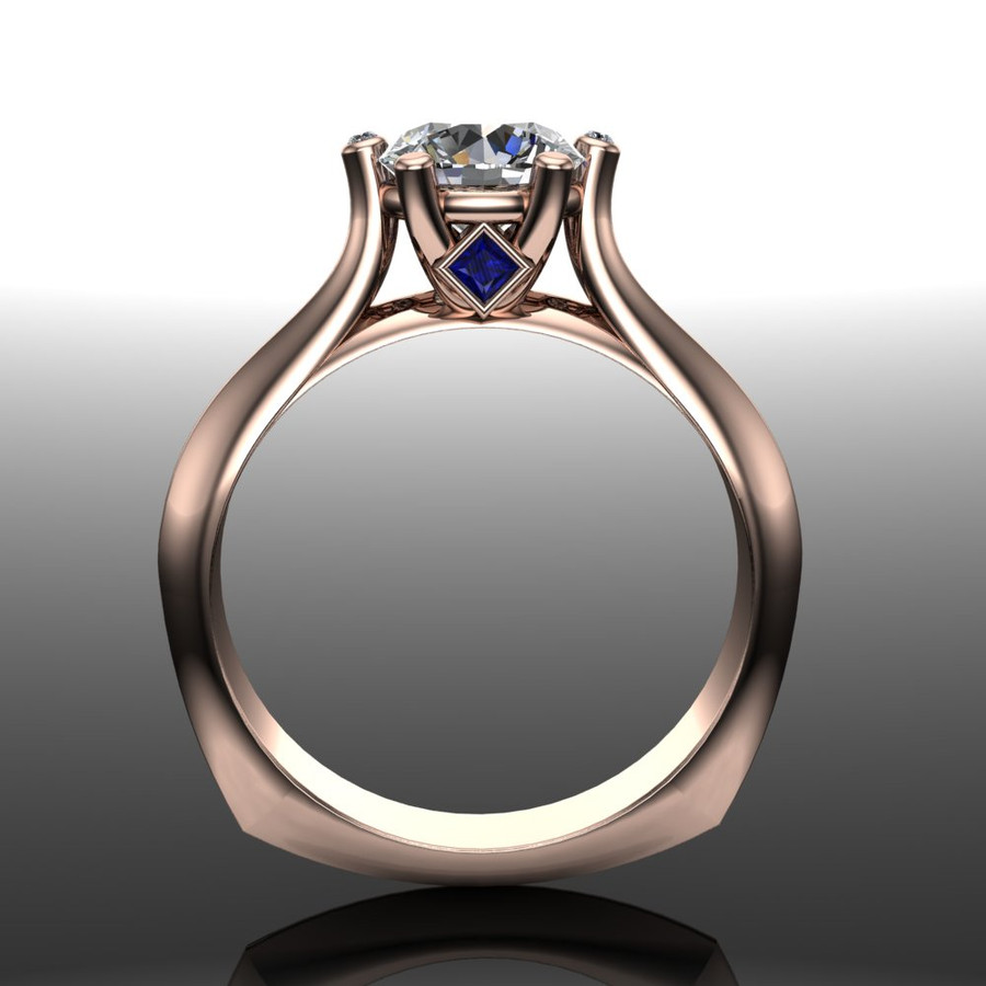 Diamond Engagement Ring, 1 ct Diamond with Blue Sapphires and Diamond Prongs front view