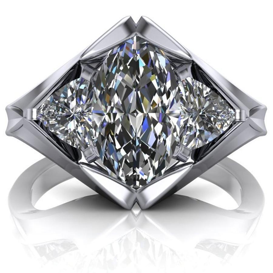 Diamond Peak Engagement Ring | Marquise 1.5ct Moissanite