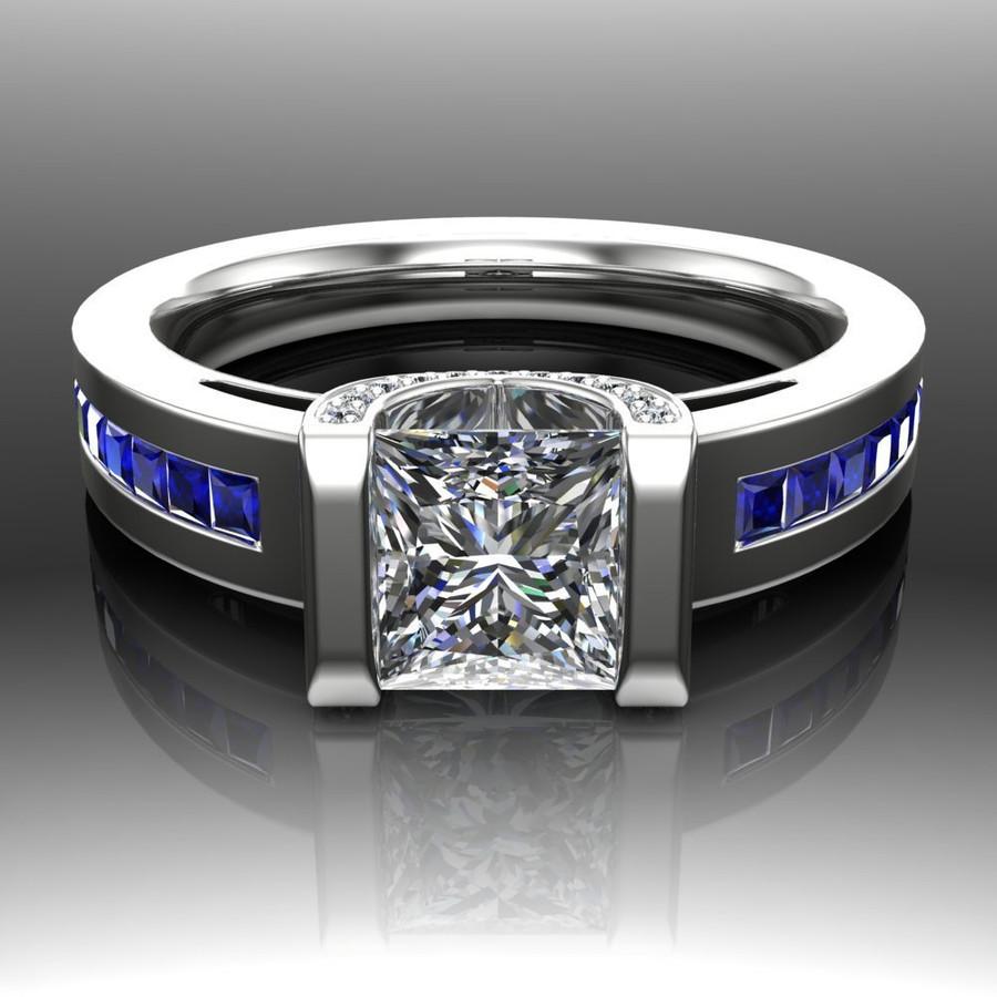 Blue Line Engagement Ring   Princess 1ct Diamond & Sapphire