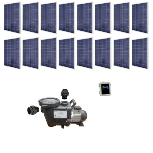 SunRay SolFlo4 - 16 Solar Panels 4kW Filter Pump Systems Solar Pool Pump 115GPM 60FT Head 3.5HP 3000RPM 240VDC Brushless Motor Complete