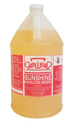SUNSHINE is a multi-purpose, solvent base dressing with NO SILICONE so it is absolutely safe for body shops.  It gives a great, fast-drying shine; without silicone.  Available in Quart, Gallon, and 5 Gallon.