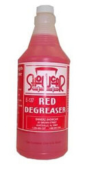 Unsurpassed for cleaning engines, air filters, exhaust stains, wax stripping and heavy duty degreasing.  RED DEGREASER is a water soluble, all purpose, cleaning/degreasing compound.  Widely used as is, but can be diluted up to 4:1.  Available in sizes of, quart, gallon, or if you would like to order in Case lots (4 gallons)5 gal pail, 55 gal drum, or purchased in a Kit, that makes 55 gallons