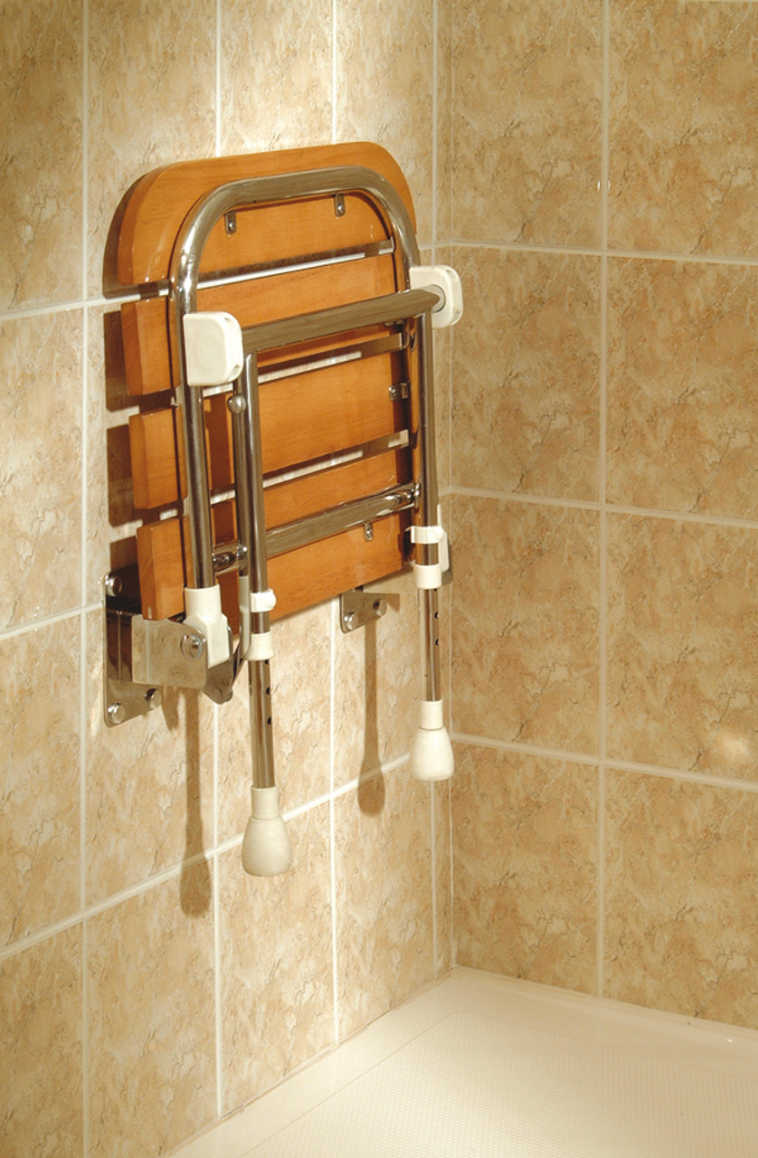 ... Wooden Shower Seat In Up Position