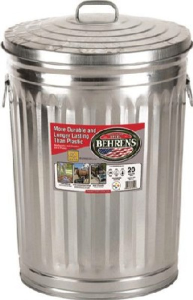 Galvanized Trash Can With Lid, 20 gal