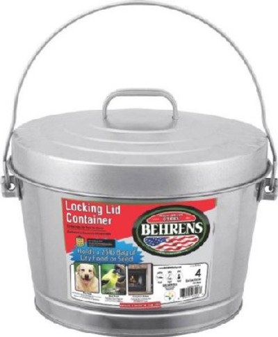 Galvanized Trash Can   4 Gal W/Lid Electro-Galvanized