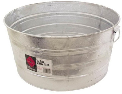 Galvanized Round Tub, 17 Gallon
