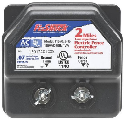 Electric Fence Low Impedance AC Powered Fence Charger, .07 Joule