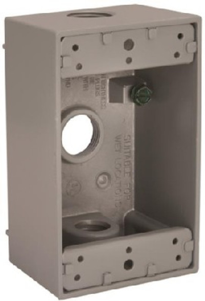 "Outdoor Weatherproof Outlet Box 1 Gang Gray 1/2"" FPT"