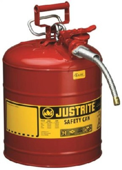 Accuflow 7250120 Type II Safety Can, 5 gal, 11-3/4 in Dia x 17-1/2 in H, Auto-Venting, Steel, Red