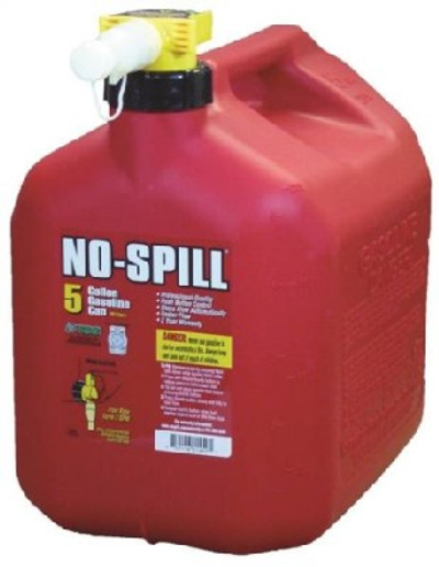No-Spill 1450 Gas Can, 5 gal, 15 in H, Plastic, Red