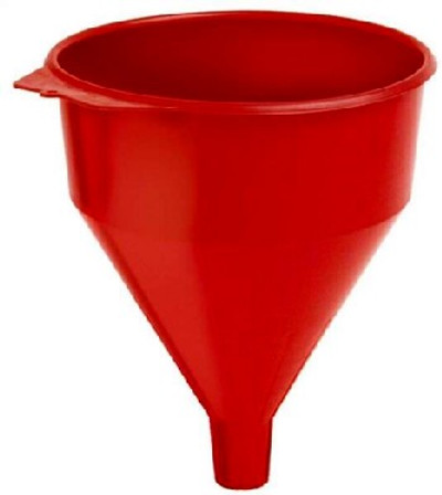 Funnel with Fine Mesh Strainer Screen, 9 in Dia x 11 in H, 6 qt, Polyethylene, Red