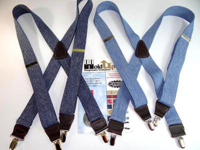 "Hold Up Casual Series, 1-1/2"" Wide, LIGHT BLUE DENIM, Silver Clips"