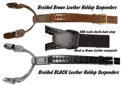 "Hold Up Braided Leather Brown Suspenders ""Y"" Back"