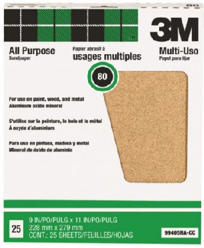 "Sanding Paper, 80 Grit, 11"" x 9"", 25 Pack"