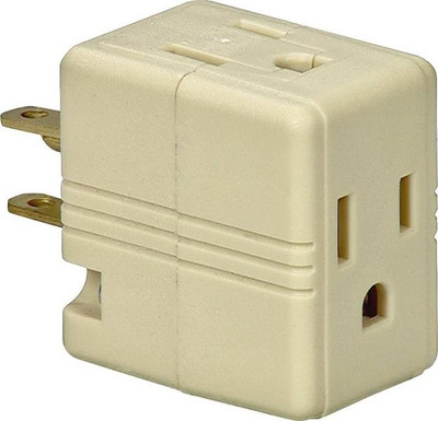 Triple Outlet Adapter, With Ground Ivory