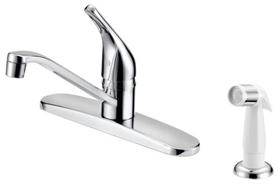 Kitchen Faucet, Single Handle With White Sprayer